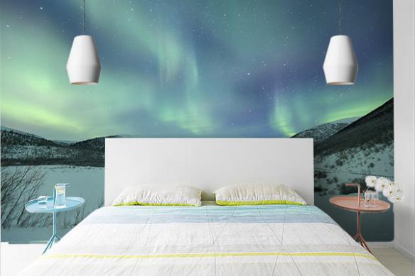Poster mural trompe l'oeil  Aurore boreale