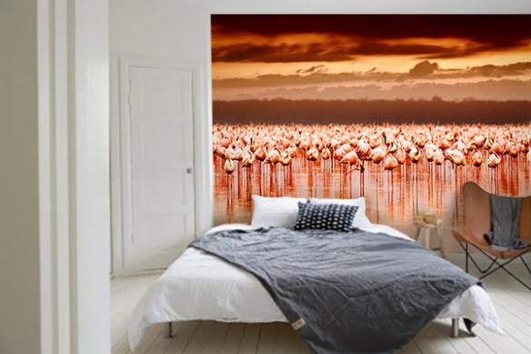 Tapisserie chambre Flamants Roses couché de soleil