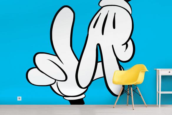 Papier peint chambre ado main de Mickey