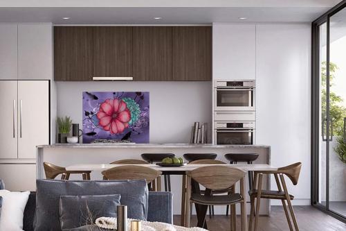 Fond de hotte mural cuisine Anémone violet