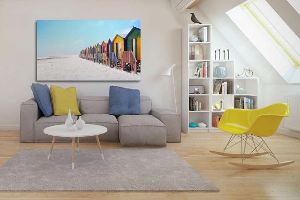 Impression sur toile imprimée Cabanons sur la plage