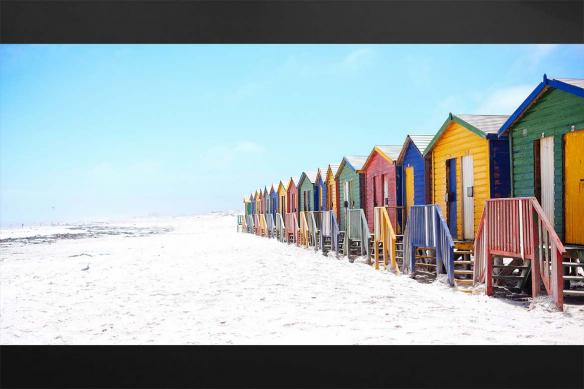 Cadre tableau Cabanons sur la plage
