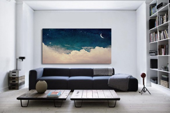 Impression sur toile XXL Flying to the moon