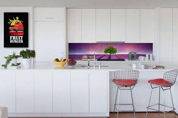 Crédence cuisine verre Champ violet