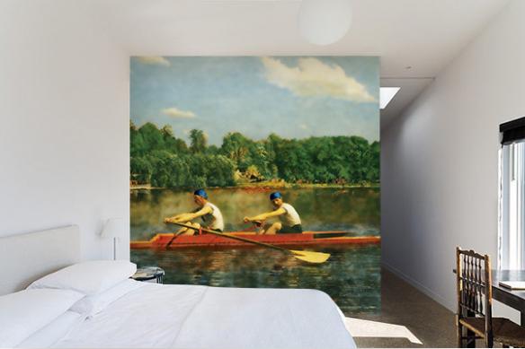 papier peint retro chambre adulte balade en aviron