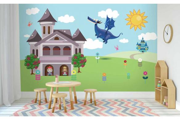 Papier peint chambre bébé Chevalier
