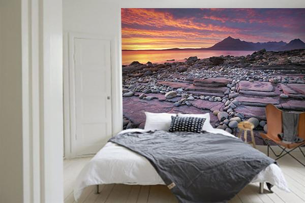 Papier peint trompe l 39 oeil chambre plage rose - Papier peint trompe l oeil pour chambre adulte ...
