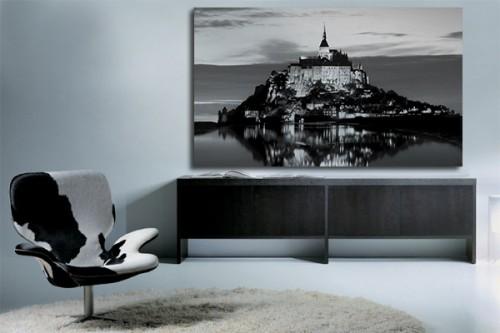 Châssis tableau noir et blanc Mt St Michel