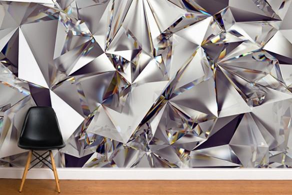 Papier peint salon intissé Diamant brut