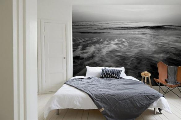 Papier peint chambre Océan gris