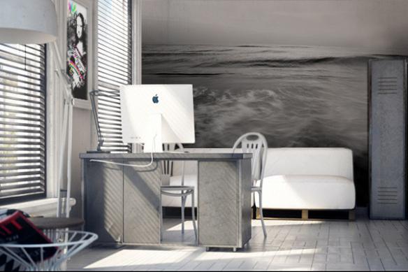 papier peint chambre adulte Océan gris