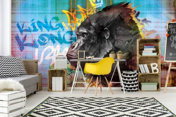 Papier peint chambre adolescent Gorille graffiti