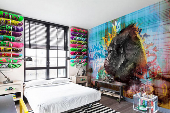 Papier peint design chambre ado intissé Gorille graffiti