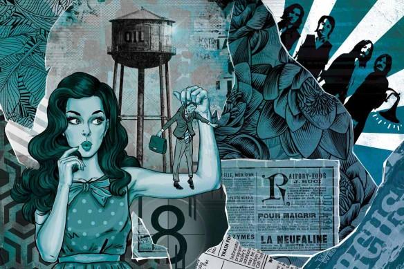 Cadre déco pop art Les brides du passé bleu