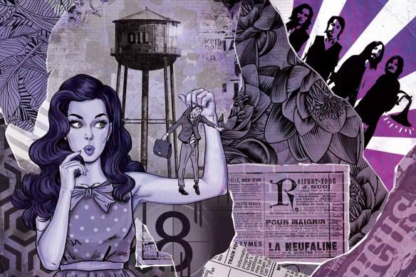 Décoration mur pop art Les brides du passé violet