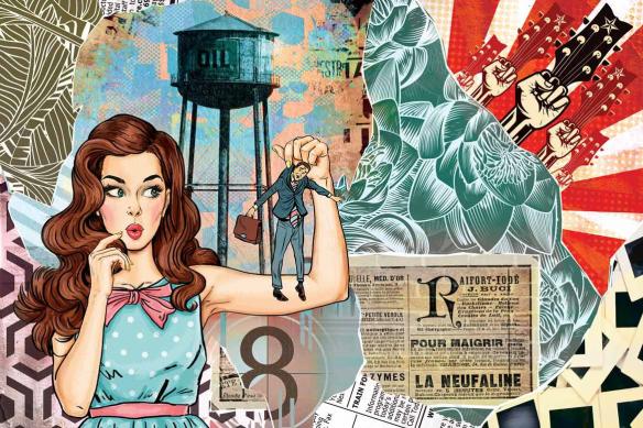 Papier peint intissé pop art Les brides du passé bleu ciel