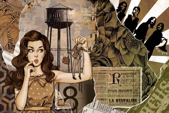 Tapisserie mur pop art Les brides du passé jaune