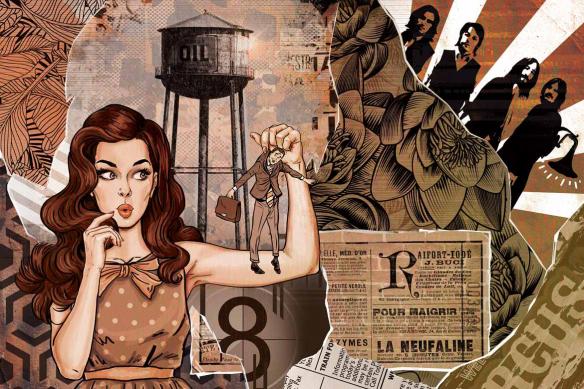 Papier peint chambre pop art Les brides du passé orange