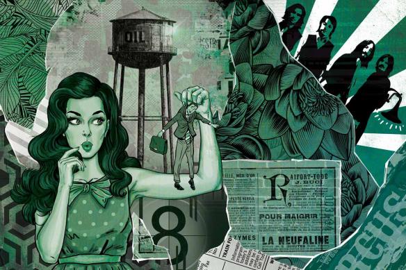 Papier peint déco pop art Les brides du passé vert