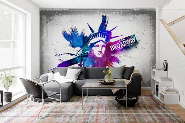 papier peint new york statue city. Black Bedroom Furniture Sets. Home Design Ideas