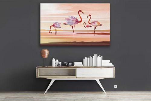tableau moderne pour salon d co tropicale flamants rose magnolia. Black Bedroom Furniture Sets. Home Design Ideas