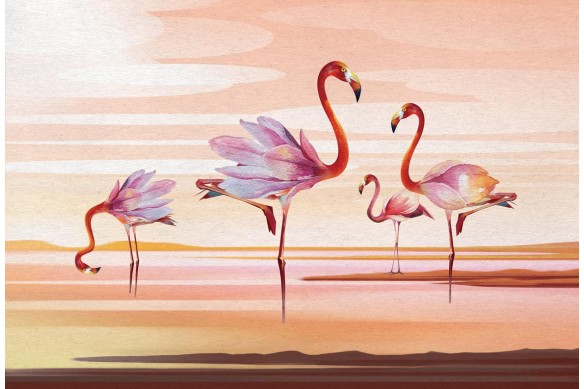Tableau moderne pour salon Flamants rose Magnolia