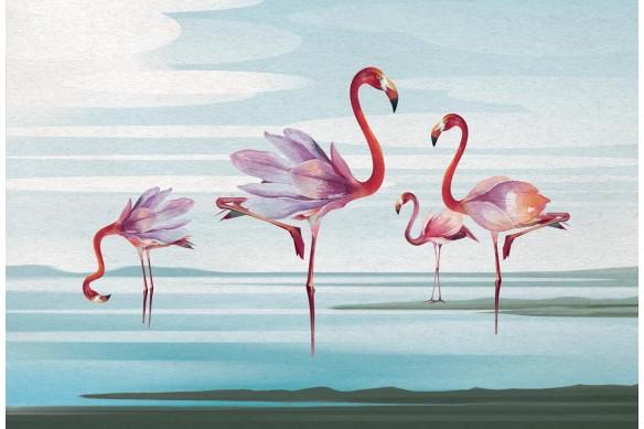 Toile déco flamants rose bleu ciel