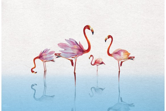 tableau tropical flamants rose bleu ciel