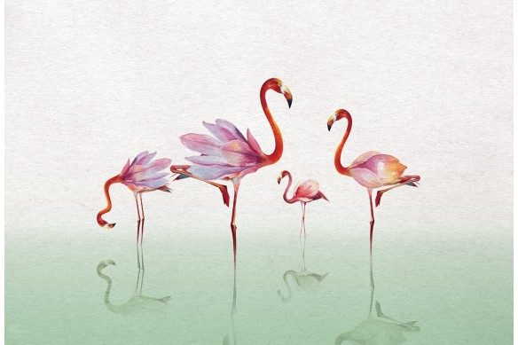 tableau design flamants rose vert