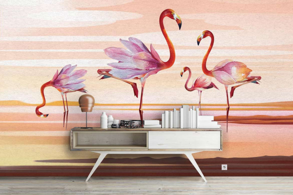 Papier Peint Intisse Tropical Flamants Rose Magnolia