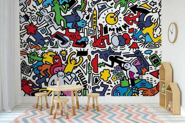 papier peint graphique et moderne party time. Black Bedroom Furniture Sets. Home Design Ideas