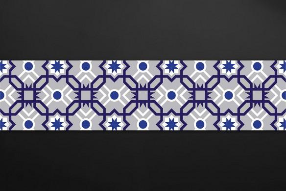 Crédence design carreau de ciment bleu et gris