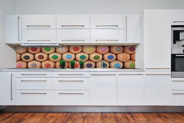 Plaque de protection mur de cuisine crayons de couleurs - Protection mur cuisine ...