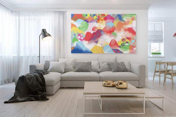toile décoration colorée vallées enchantées