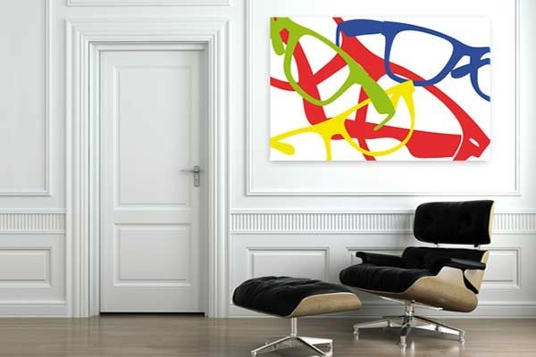 Tableau d co lunettes design color es - Deco originale salon ...