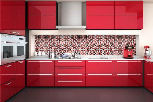 Crédence imitation carreaux de ciment Azulejos rouge