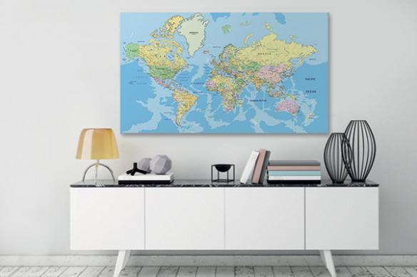 Grand cadre mural Map Monde