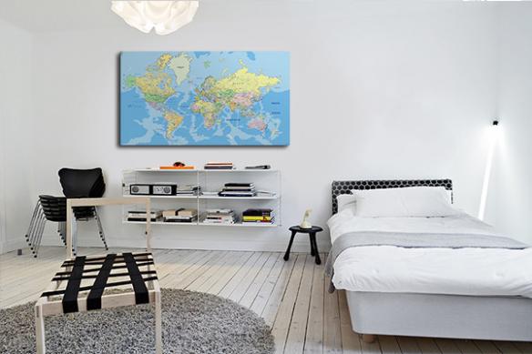 décoration chambre toile map monde