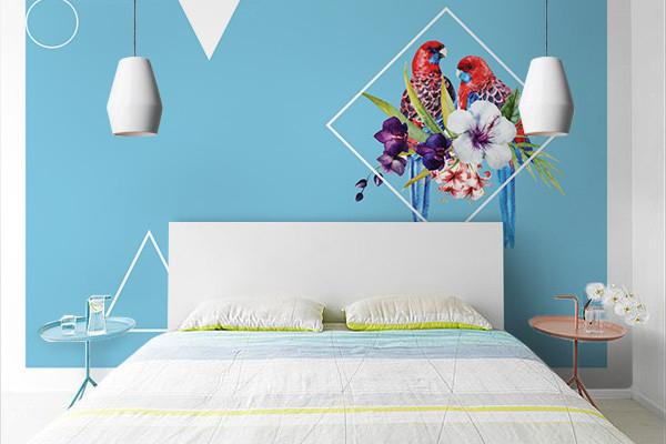 papier peint tropical chic perroquet tropical. Black Bedroom Furniture Sets. Home Design Ideas