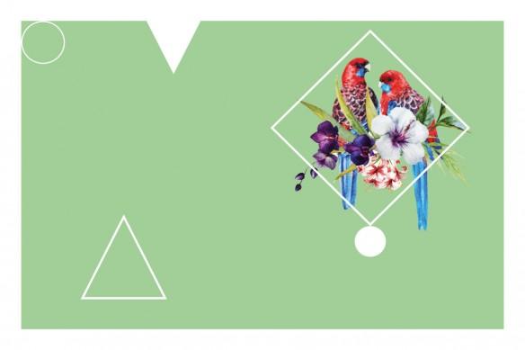 tapisserie tropicale moderne Perroquet tropical vert