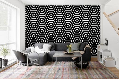 papier-peint-geometrique-pour-salon
