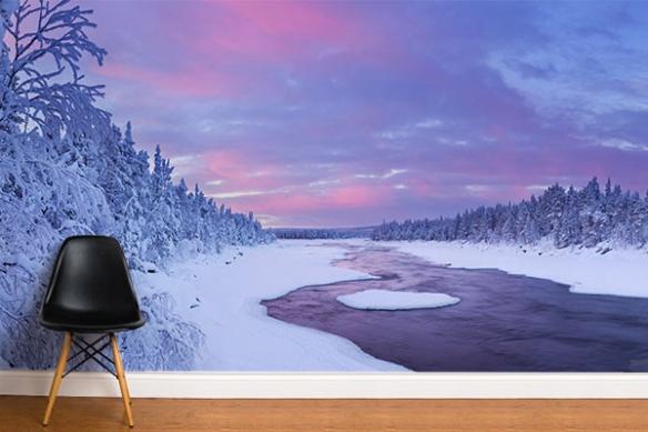 Tapisserie murale Rivière enneigée