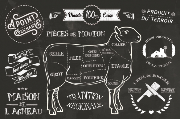 Tableau vintage noir et blanc Mouton