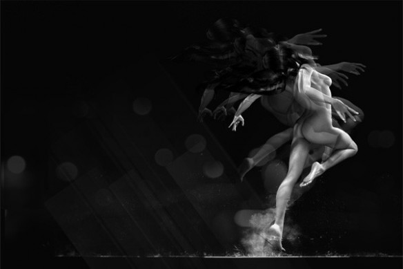 Papier peint noir design femme Jump
