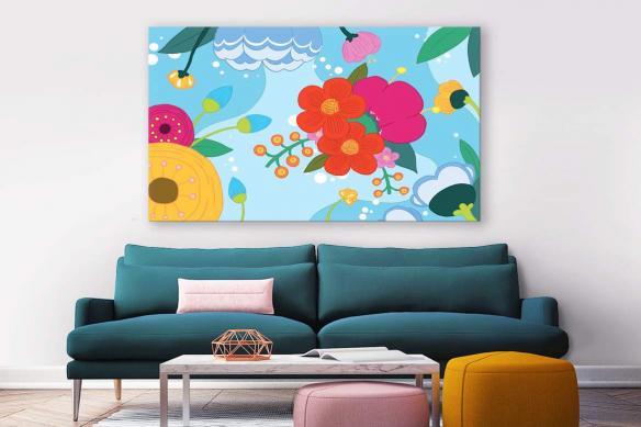 tableau-scandinave-fleur-bloom-bleu