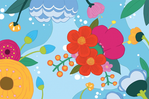 toile-murale-scandinave-fleur-bloom-bleu