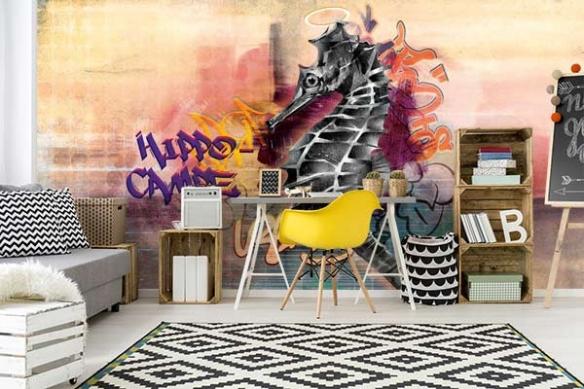 Papier peint graffiti Hippo graffiti