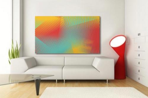 Cadre déco jaune et orange abstrait
