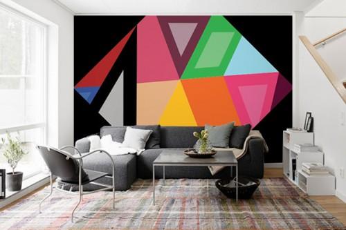 Papier peint géométrique Diamant Hexagonal