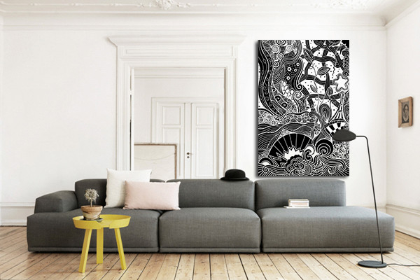 toile murale mandala. Black Bedroom Furniture Sets. Home Design Ideas